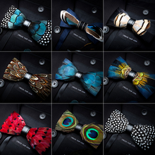 79004541dbc2 RBOCOTT Leather Bow Tie Men's Luxury Bowtie With Box Fashion Peacock  Feather Bow Ties 12cm*
