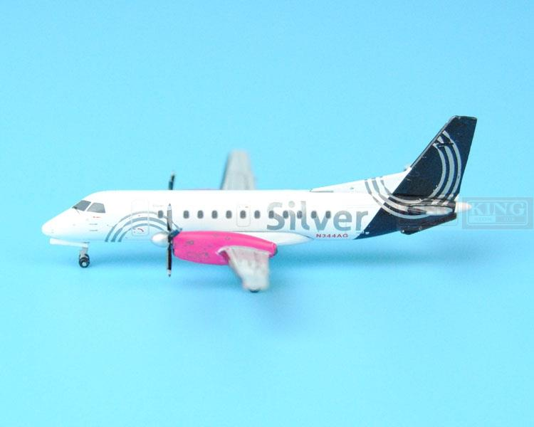 New GJSIL1369 Silver Airways 340B Saab N344AG 1:400 GeminiJets commercial jetliners plane model hobby
