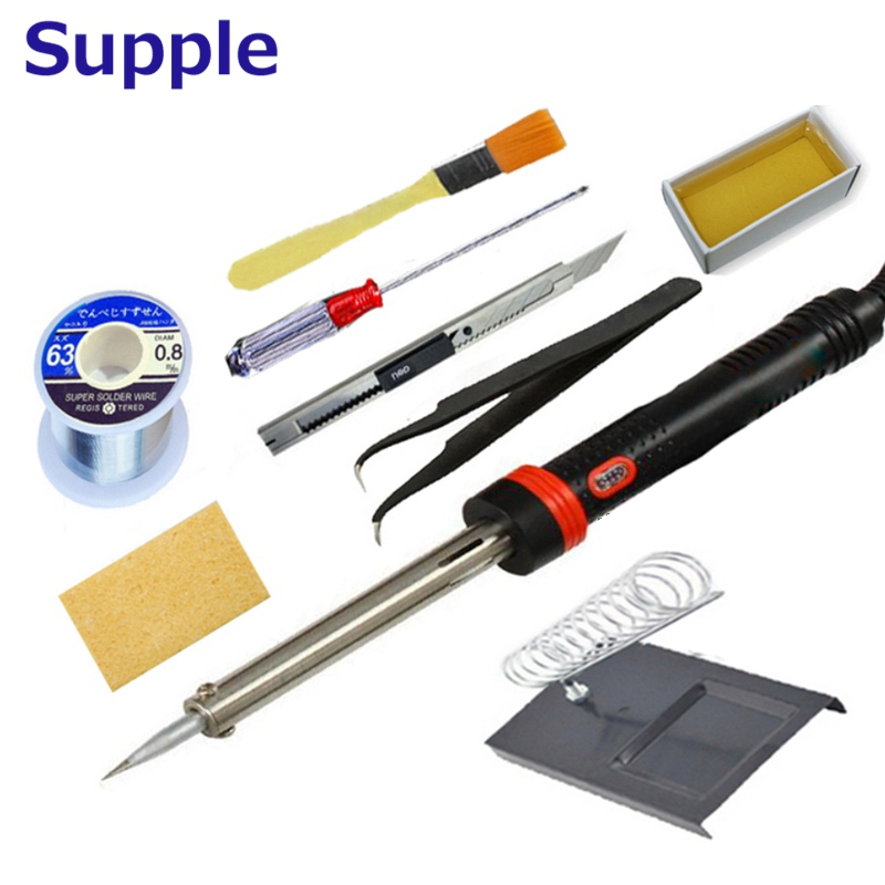 Supple 220V 60W  40W Electric Soldering Iron Welding Tool kit With Iron Stand Desolder Pump and Repair Tool Tweezers 1pcs yl765 40w electric soldering iron soldering high quality heating diy tool parts lightweight soldering gun hot welding