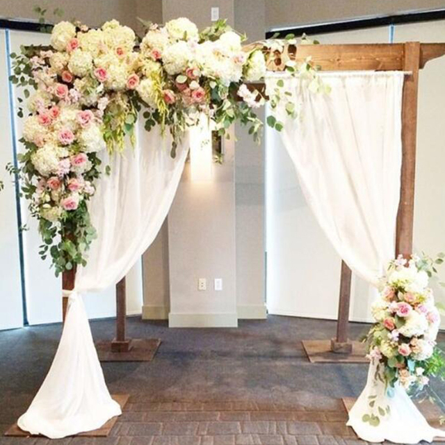 Decoration Flowers For Wedding: White With Green Grass Wedding Flower Wall Artifical Silk
