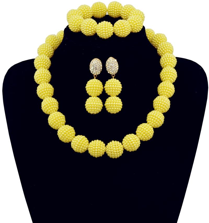 7a3cfb47d6be2 2016 كلاسيك نيجيريا الزفاف العروسة الخرز الأفريقي مجوهرات مجموعة الأصفر  كريستال مجوهرات الزفاف مجموعات شحن مجاني