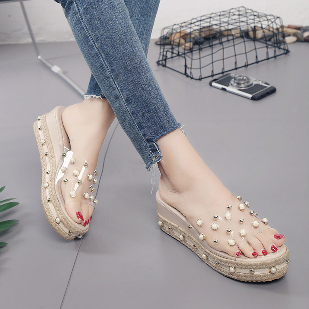 HTB1qjYGaFP7gK0jSZFjq6A5aXXaM Fashion Jelly Sandals Summer Candy Slippers Woman Shoes Flats Ladies Womens Zapatos Mujer Slip On Pearl Beach Wedges Jelly Shoe