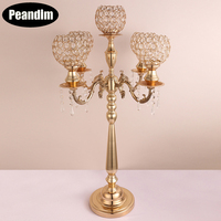 PEANDIM Luxury 85cm Tall Candle Holders 5 Arms Candlestick For Event Wedding Table Centerpiece Candelabra With Crystal Pendants