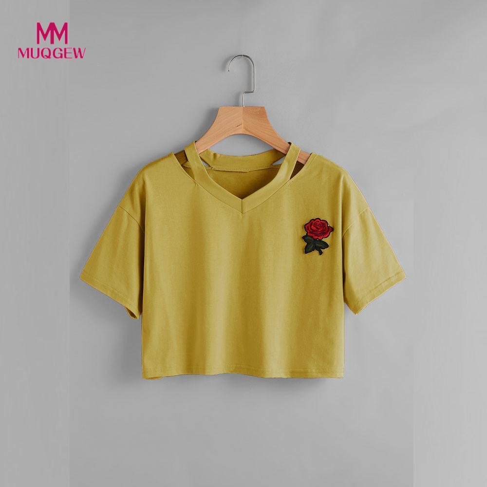MUQGEW blouse Femmes Rose À Manches Courtes Casual V-cou Gilet Tops coton Blouse femmes tops et blouses tops e blusas par mulh