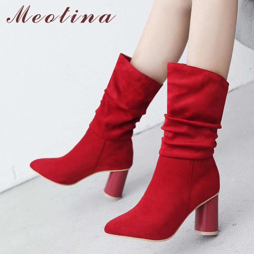 Meotina Winter Western Boots Shoes Women Pointed Toe Round High Heel Boots Pleated Western Boots Autumn Female Footwear Red meotina women boots winter chunky heel western boots ladies ankle boots large size 34 43 female autumn shoes 2018 white brown