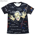 Qlychee XXL Comical Albert Einstein T shirt Men Funny Cotton Top tees Short sleeve The Big Bang Theory T-shirt