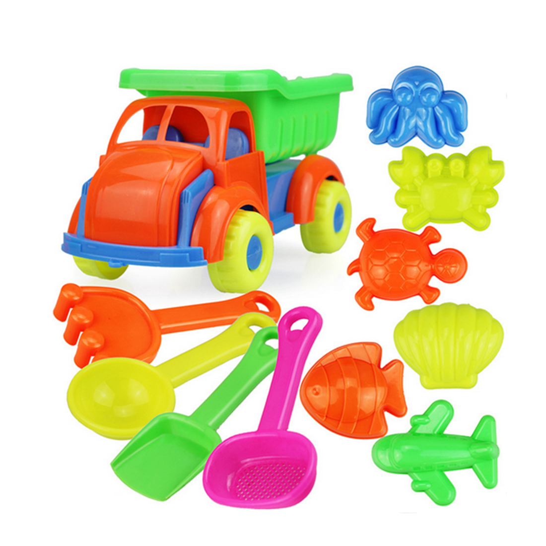 11-In-1 Summer Emulational Beach Car Toy Set Plastic Outdoor Beach Play Toys For Children Gifts - Random Color