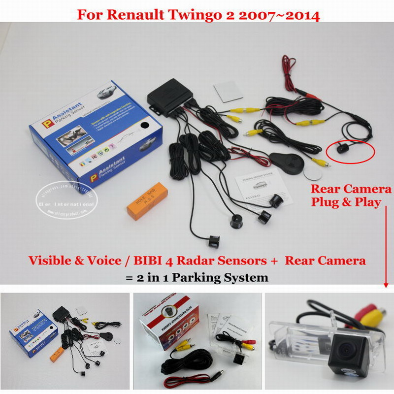ФОТО For Renault Twingo 2 2007~2014 - Car Parking Sensors + Rear View Back Up Camera = 2 in 1 Visual Alarm Parking System