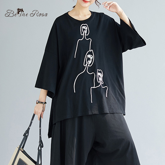 BelineRosa Women's Casual Black T-shirts Summer Oversized Plus Size Women Tops Eruopean Style Ladies Tee Shirt XE000033