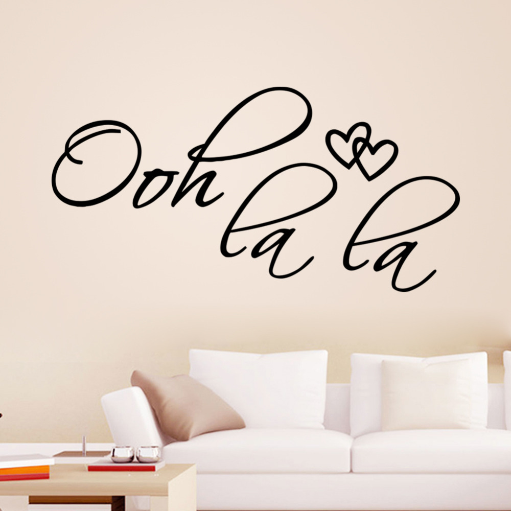 Ooh La La Words Quotes 8418 Removable Love Heart Vinyl Wall Decals Bedroom  Wall Stickers For Kids Room Wedding Decoration Art In Wall Stickers From  Home ...
