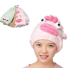 Cartoon Woman Shower Cap Coral Fleece Hair Wrapped Towel Hat