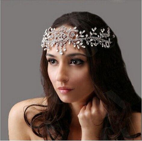 Noble front chaîne avec strass Bandeau Bandeau Tiara Mariage Mariée Diadème