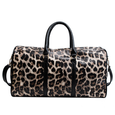 Leopard PU Leather Men's Sports Bags Gym Bags Classic Sports Handbag Fitness Travel Bags Workout Shoulder Bag