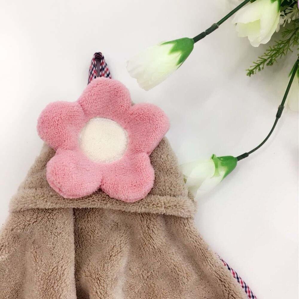 2pcs Lovely Floral Super Soft Microfiber Hand Towel Five-Petaled Flower Bathroom Kitchen Hanging Towels Absorbent Cleaning Cloth