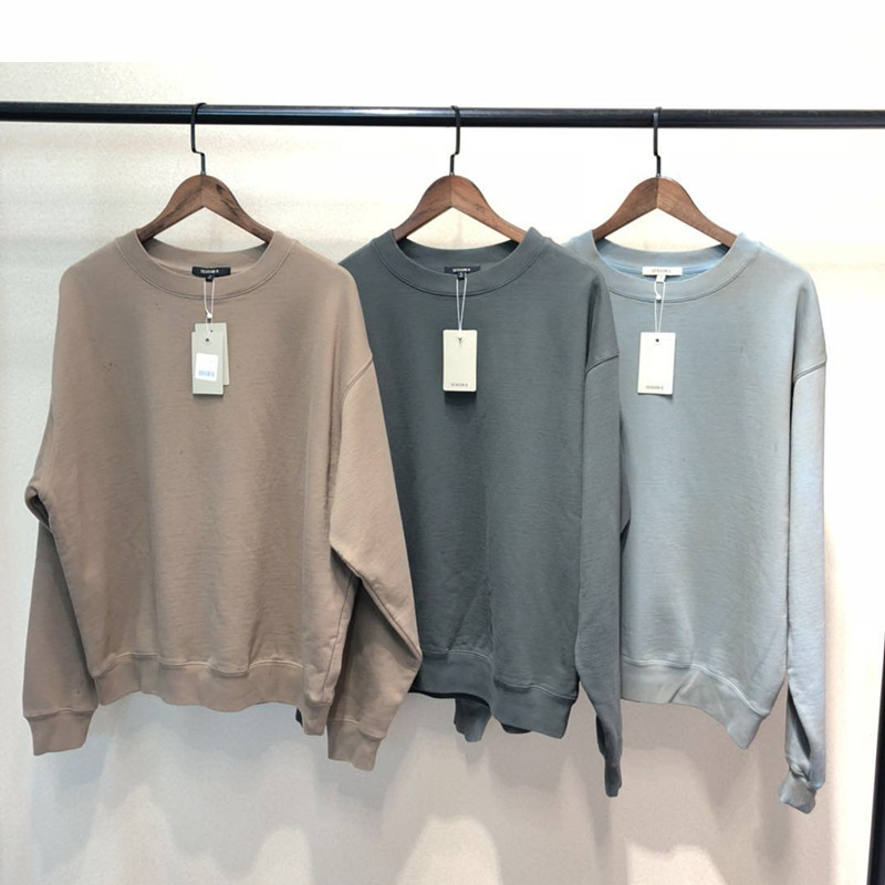 SEASON6 Round-neck Loose Sweatshirts Kanye West 2019 Hip Hop Solid Colors Men Sweatshirts Cotton Vintage  Harajuku Loose Unisex