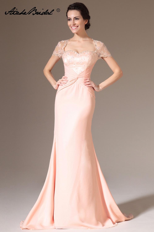 Cap Sleeve Mermaid Formal Women's Dress Elegant Backless Pink Chiffon Mother Of The Bride Dress Vestido Novia