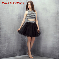 BacklakeGirl 2017 Sexy Black White Contrast Color Mini Short Evening Dress Pearls Stripe Backless Porm Celebrity