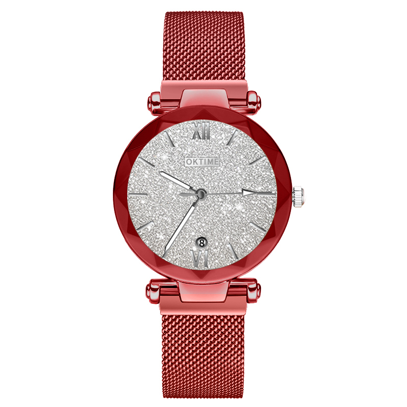 Women Quartz Watch Starry Round Dial Wrist Watch With Magnetic Strap For Business Travel  LL@17