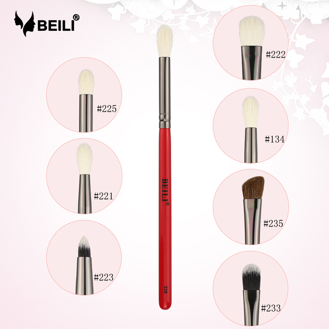 BEILI Makeup Brush 1PCS Professional Natural Hair Eye Shadow Brush Blender Crease Makeup Cosmetics 228/221/222/223/235/134/225