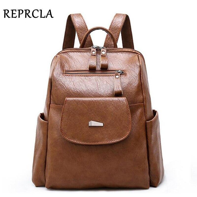 REPRCLA Large Capacity Women Backpack PU Leather School Backpacks Female Casual Travel Shoulder Bags Mochila Feminina Bagpack
