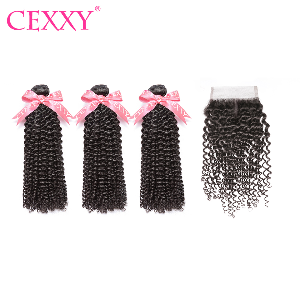 CEXXY Brazilian Hair Weave Bundles Kinky Curly Human Hair Bundles With Closure Hair Extension Virgin Hair