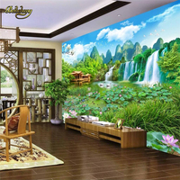 beibehang Lotus waterfall landscape painting Custom papel de parede Photo Wallpaper for Living Room Wall Mural Decor Wall paper
