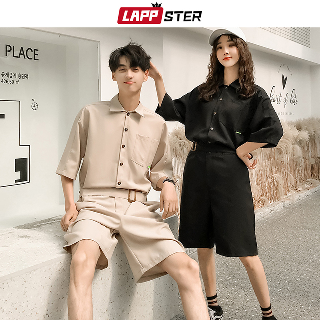 LAPPSTER Jumpsuit Men Harajuku Belt 2020 Summer Couple Women Jumpsuit Plus Size Black Cargo Overalls Pants Korean Style Fashion 48