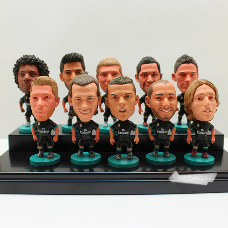 11PCS + Display Box Soccer Real Madrid (BLACK-Away-2018) Player Star Figurine 2.5
