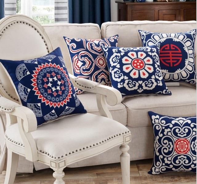 Luxury BLue Vintage Flower Royal Cushion Cover Linen Cotton Pillow Delectable Decorative Bed Pillows Blue