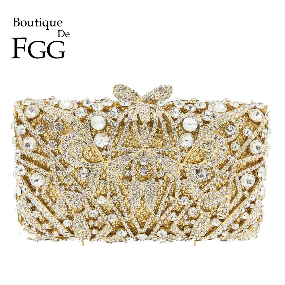 Boutique De FGG Hollow Out Angle Pattern Women Gold Crystal Clutch Evening Handbags and Purses Diamond Wedding Minaudiere BagBoutique De FGG Hollow Out Angle Pattern Women Gold Crystal Clutch Evening Handbags and Purses Diamond Wedding Minaudiere Bag