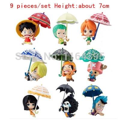 ФОТО 9 pieces / set  Size:  7 CM PVC plastic model one piece  action figures hobbies plush doll  --- np 121212 12 1 2
