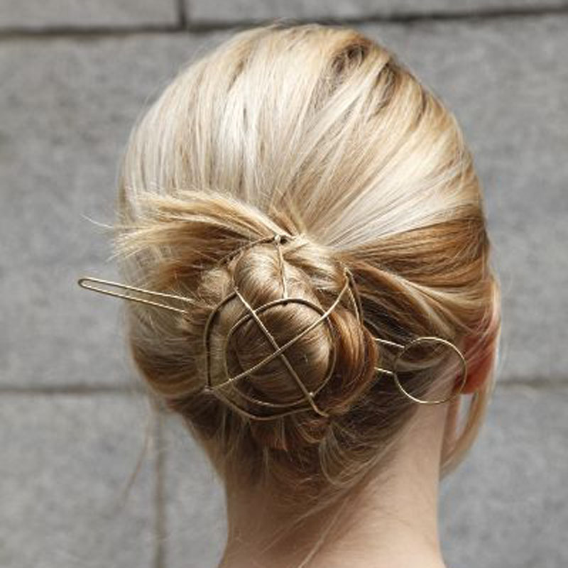 Unique ! Punk Gold Tone Geometric Hair Sticks Vintage Bun ...