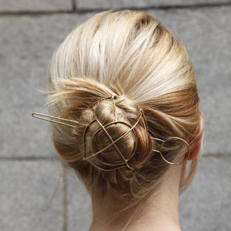 Unikāls! Punk Gold Tone ģeometriskie matu sticks Vintage Bun Cage Matu rotaslietas Bijoux Kāzu matu aksesuāri Šiks matu rotaslietas