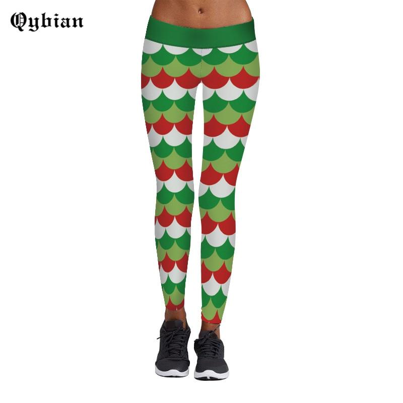 Qybian 3D Ripple Christmas Tree Print Spring Casual jeggings Women Leggings Legging Pants Elastic Sexy Winter Girls