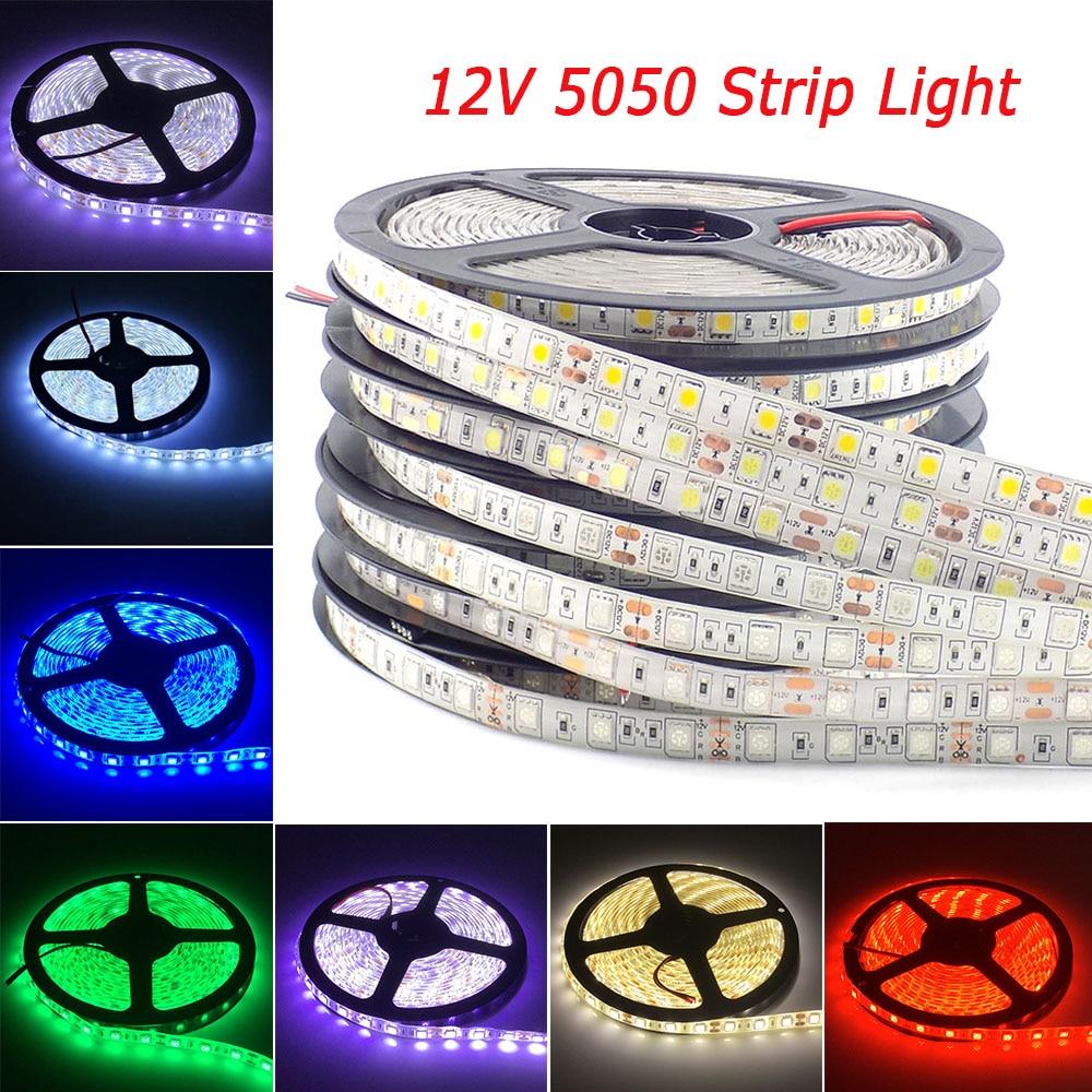 5M RGB led strip waterproof Ledstrip RGB 5050 LED Stripe Light 12V led rgb tape TV backlight Cold Warm White lights for home ac120 rgb b