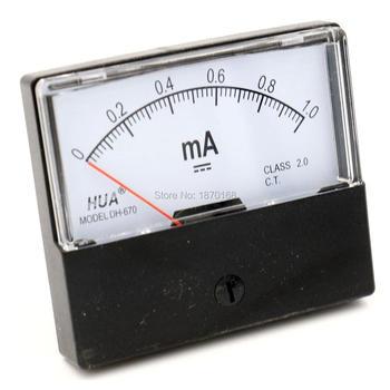 DC 1MA 20MA 30MA 50MA 100MA 200MA 300MA 500MA analógico metro del Panel actual Ampere amperímetro DH-670 DH670