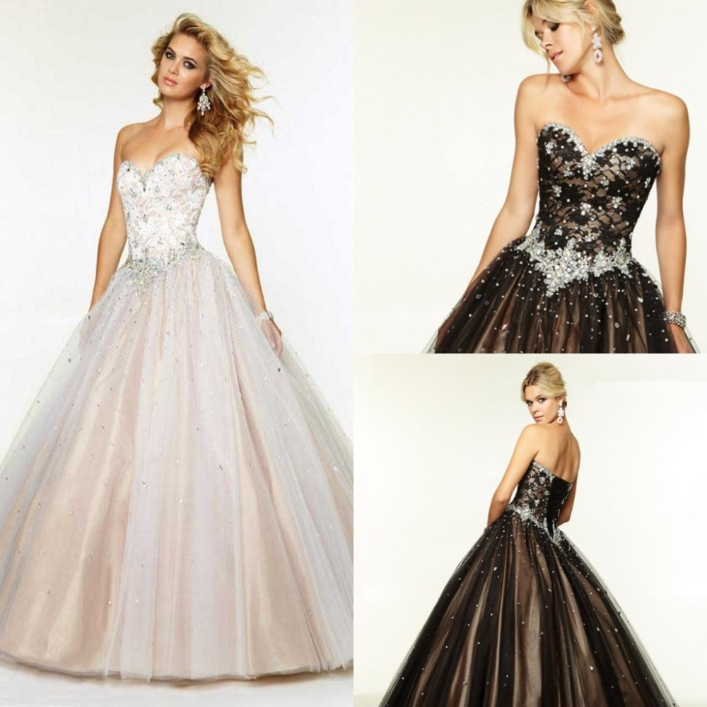 Aliexpress.com : Buy Long Puffy Prom Dress Ball Gown Tulle Crystal ...