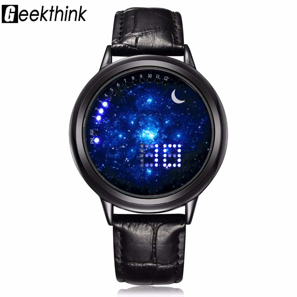 GEEKTHINK Top Luxury varumärke Digital Touch Screen Led Watch Män Casual Women Fashion Unisex Armbandsur Mänsklocka Creative presenter