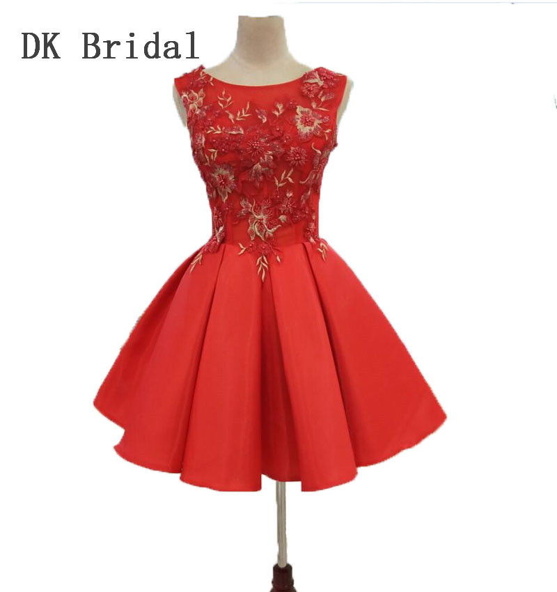 DK Bridal Illusion Red Beaded Bridesmaid Dresses Short Embroidery Prom Homecoming Formal Party Gowns Dresses for Women DK1810 in Bridesmaid Dresses from Weddings Events