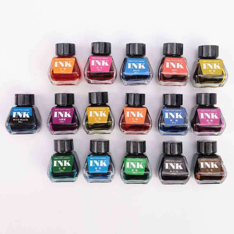 30ml Bottled Glass Smooth Writing Fountain Pen Ink Refill School Student Stationery Office Supplies 16 Colors