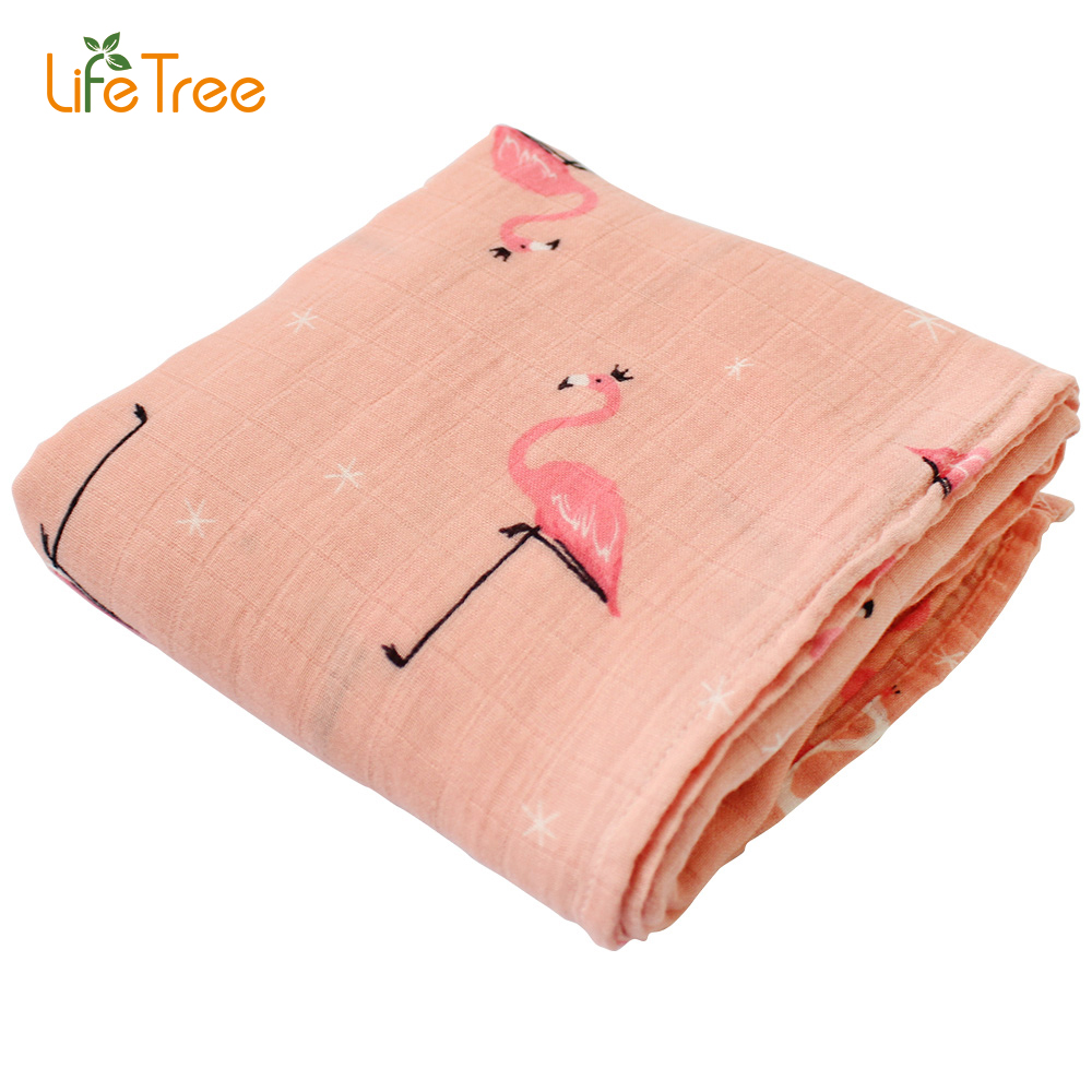 Baby Swaddle Blanket Muslin Bamboo Cotton Soft Wrap For Newborn Cartoon Printed Breathable Infant Bedding 120