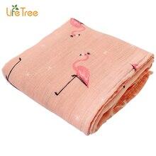 Bébé Swaddle Couverture Mousseline Bambou Coton Doux Wrap Pour Nouveau-Né de Bande Dessinée Imprimé Respirant Infantile Literie 120*120