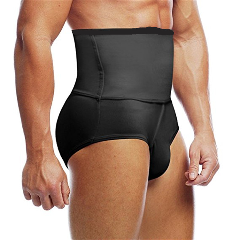 Men's Slimming Body Shaper High waist Abdomen Tummy Control Shaping Brief Slim Underwear Compression Panties Black White