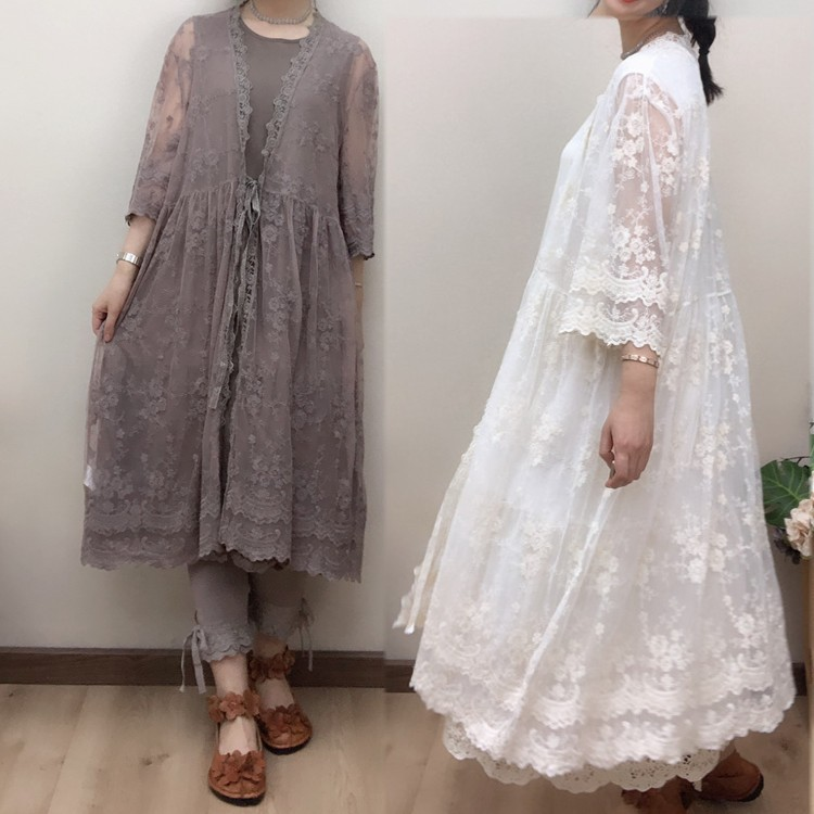 Lolita embroidery lace sun protection shirt long lace cardigan vv