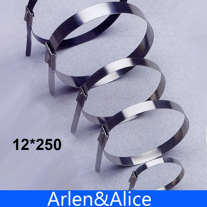 100pcs 12mmx250mm STAINLESS STEEL ZIP CABLE TIES LOCK TIE  self-locking