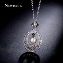NEWBARK Vintage Goat Horns Hollow Out Design Imitation Pearl Pendant Necklace Copper White Gold Plated Fashion Jewelry Gifts