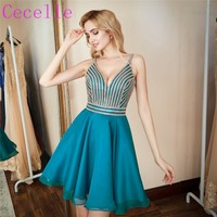 2018 New Latest Turquoise Short Homecoming Dresses For Juniors With Straps Sexy Deep V Neck A line Homecoming Dress In Stock
