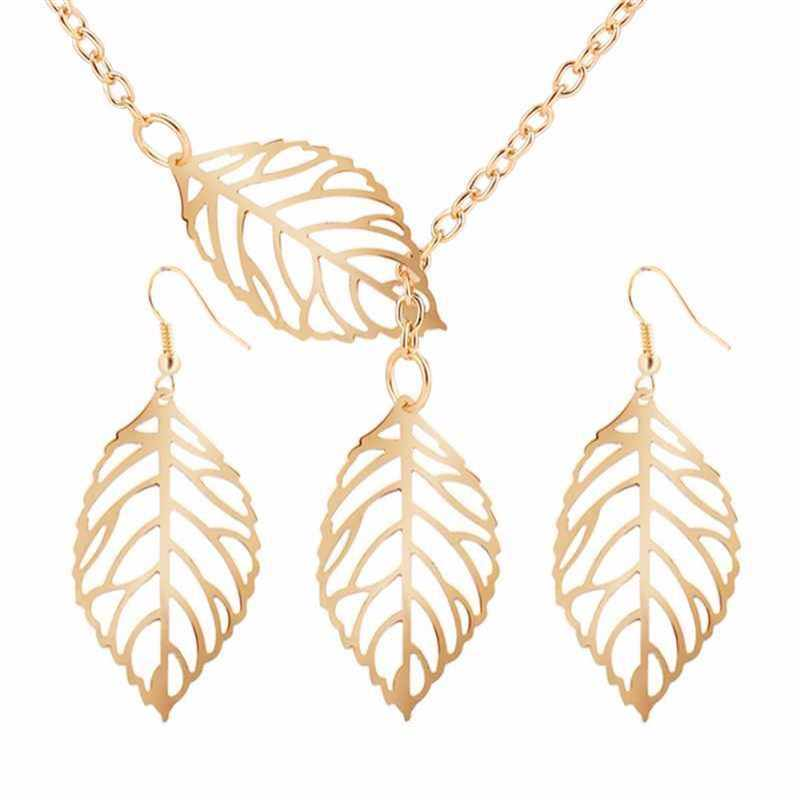 NK607 New Fashion Punk Minimalist Two Leaves Pendants Clavicle Necklaces For Women Jewelry Gift Clavicle Tassel Chain Collier