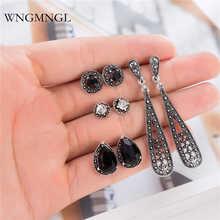 WNGMNGL 4 Pairs/Set Vintage Stud Earrings Simple Antique Silver Color Geometric Set For Women Charm Fsahion Ear Jewelry