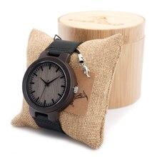 BOBO BIRD C26 Men's Ebony Wood Watches Timepiece Genuine Leather Quartz Watch for Mens Wrist Watch